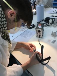 Emily drilling samples